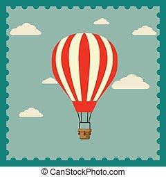 balloon, ar, desenho, quentes, céu, fundo, apartamento, nuvem