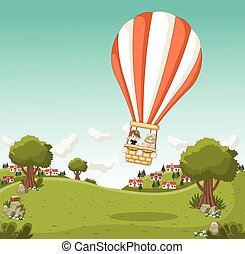 balloon, ar, quentes, dentro, caricatura, voando, crianças