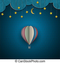 balloon, ar, quentes, estrelas, lua