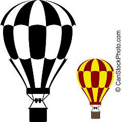 balloon, ar, quentes, vetorial, pretas, símbolo