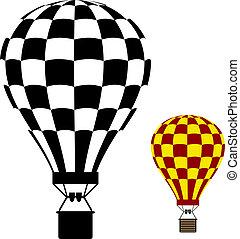 balloon, aria, caldo, vettore, nero, simbolo
