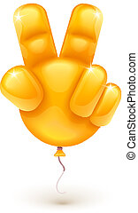 Balloon as hand showing victory symbol - Orange balloon as...