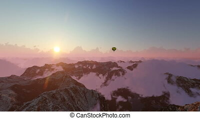 Balloon at sunset above clouds