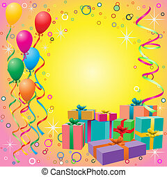 Balloon Background with Gift Boxes - Balloon Background with...