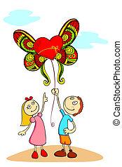 balloon, bambini, amore