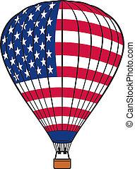 balloon, bandera, gorący, usa, powietrze