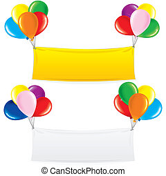 Balloon Banner. Festive Decoration Birthday Design - Textile...