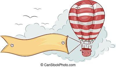 balloon, bannière, air