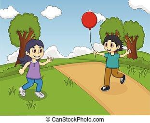 balloon, barn, leka