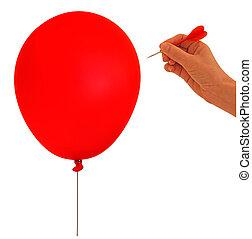 balloon, bel, barsten, -, metafoor, hand, en, pijl, op wit,...