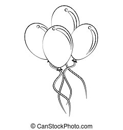 Balloon - Black outline vector balloon on white background.