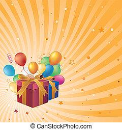 balloon, boîte, cadeau