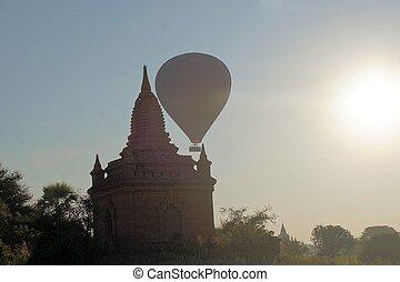 balloon, boeddhist, bagan, tempels, myanmar