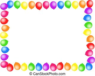 balloon border - Colourful birthday party balloon page...