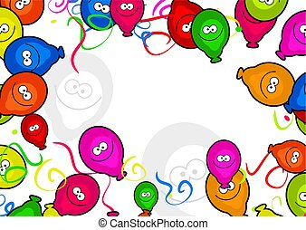 Balloon Border - decorative cartoon birthday party balloon...