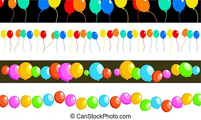 balloon borders - set of four birthday party balloon page...