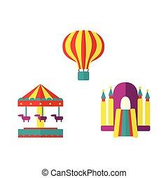 Balloon, bouncy castle and carousel icon set - Hot air...