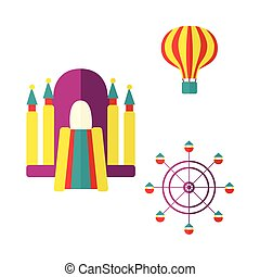 Balloon, bouncy castle and Ferris wheel icon set