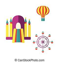 Balloon, bouncy castle and Ferris wheel icon set - Hot air...