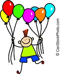 Whimsical drawing of a cute little boy holding a bunch of balloons.