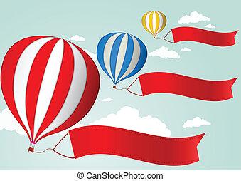 balloon, céu, ar, quentes