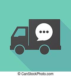 balloon, cômico, caminhão, sombra, longo