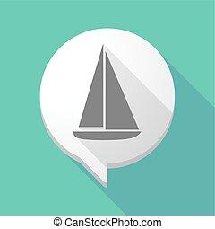 balloon, cômico, sombra, navio, longo