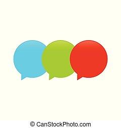 balloon, callout, conception, triple, logo, symbole