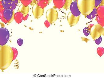 balloon, carnaval, coloridos, estrela, quadro, boné, presente, streamer., confetti, fundo, feriado, ou, prata