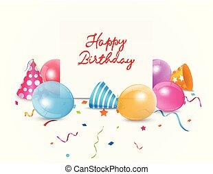 balloon, cartão aniversário, coloridos, feliz