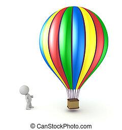 balloon, charakter, up, stavět na odiv, pohled, horký, 3