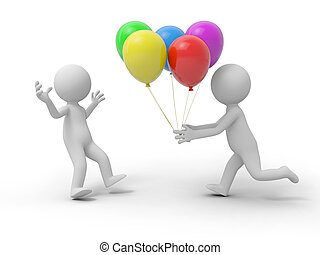 balloon - A 3d person taking the balloons to another one