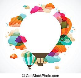 balloon, coloré, résumé, air, chaud, vecteur, fond