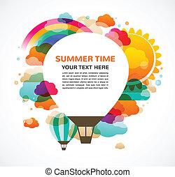 balloon, colorito, astratto, aria, caldo, vettore, fondo
