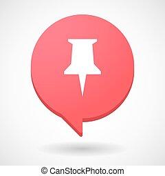 balloon, comico, puntina da disegno, icona
