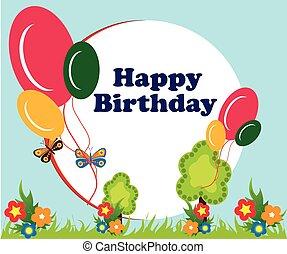 balloon, compleanno, cornice, fondo