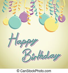 balloon, compleanno, fondo, Felice