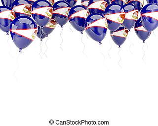 balloon, cornice, con, bandiera, di, samoa americana