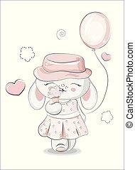 balloon, crème, girl, glace, lapin