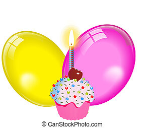 balloon, cupcake