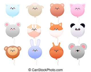 Balloon Cute Kawaii Animals isolated on a white background. Vector