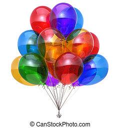 balloon, décoration, anniversaire, lustré, fête, heureux, ballons, tas