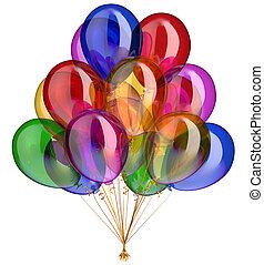 balloon, décoration, fêtede l'anniversaire, heureux, ballons, tas