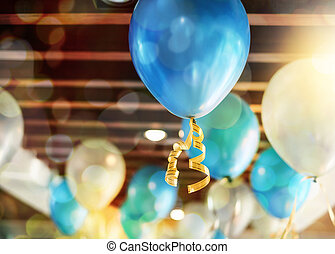 Balloon decoration on ceiling in the party