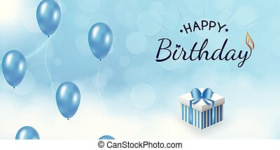 balloon., desenho, aniversário, céu, feliz