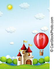 balloon, deux, air, garçons, chaud, équitation, château