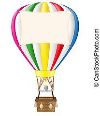 balloon, em branco, bandeira, ar quente