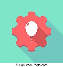 balloon, engrenagem, ícone, longo, sombra