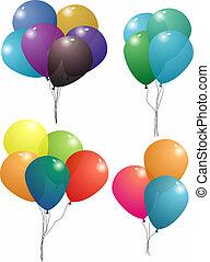 balloon, ensemble, transparent