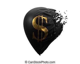 balloon., estallar, dólar, ilustración, 3d